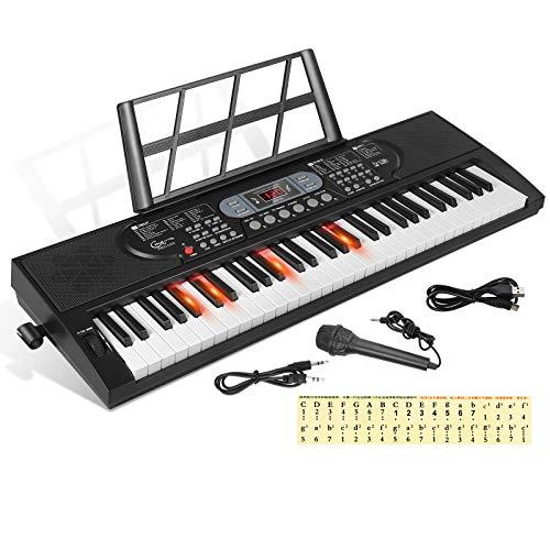 Hricane 61 Tasten Piano Keyboard mit Mikrofon Klaviernote Aufkleber Stromversorgung Notenständer Elektronische Digitale Tastatur Geschenk für Anfänger Jungen Mädchen Erwachsene Männer Frauen