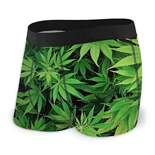 TYHG Herren Boxershorts Marihuana Weed Leaf Unterwäsche Gr. S, Schwarz