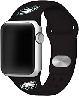 Game Time Philadelphia Eagles Silicone Sport Band Compatible with Apple Watch - Band ONLY (42mm/44mm Black)