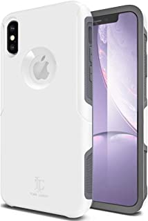 TEAM LUXURY [Defense-x Series Case for iPhone X, Dura Layer Shock Absorbing Technology Protective Phone Case 5.8 Inch - White/Gray