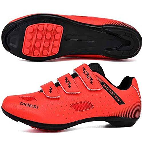 KUXUAN Zapatillas de Ciclismo para Hombre,Suelas de Carreras de Carretera Zapatillas de Ciclismo de Montaña Zapatillas de Ciclismo MTB Deportivas Transpirables,Red-42EU=(260mm)