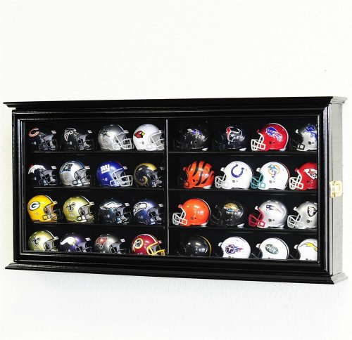 32 Pocket Pro mini Helmet Display Case Cabinet Holders Rack w/UV Protection, Black