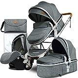 Babyfond Cochecito de bebe 3 en 1, Cochecito confort con capazo plegable, ligero Silla de paseo para bebé, desde el nacimiento hasta los 3 años (Gris)