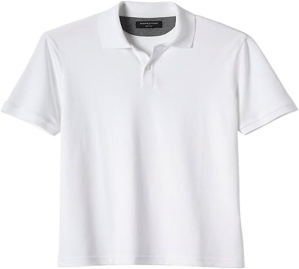 BANANA REPUBLIC Solid White Dress Polo