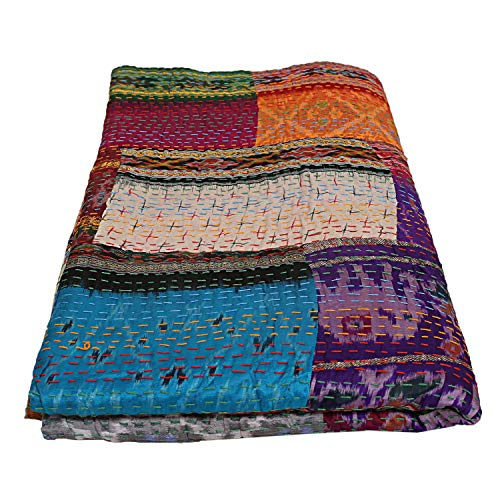 Just Contempo - Copriletto trapuntato in seta con patchwork e patchwork Kantha, multicolore
