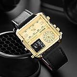 SANDA Reloj Hombre,Reloj electrónico clásico de Moda de Tres Tiempos, Reloj Cuadrado Multifuncional, Reloj Informal de Cuero Impermeable para Hombres-Cinturón Oro Negro