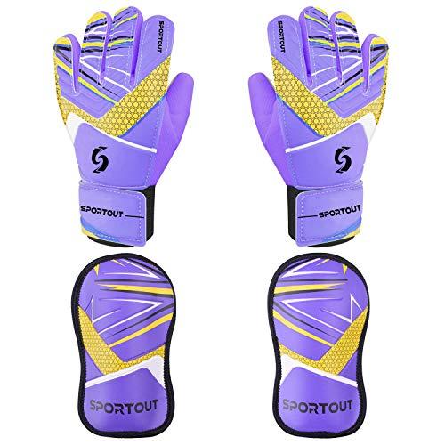 Sportout Kinder Jugend Torwarthandschuhe Schienbeinschoner Set, Jungen und Mädchen Fußball Trainingshandschuhe (Purple, 6)