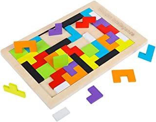 Stem Toys for 4-6 Year Old Boys, J.K-Toys Wooden Tetris Puzzle for Kids Ages 4-8 Girls Best Gifts for 3-12 Year Old Montes...