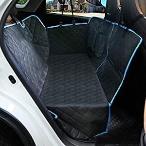 LETTON Dog Car Seat Covers with Mesh Window and Side Flap Durable Scratchproof Waterproof Pet Dog Hammock for Cars/Trucks/SUV Non-Slip Washable Protector for Back Seat