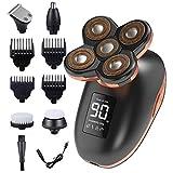 Dee Banna - Afeitadora eléctrica 5 en 1 para hombre, con cabezal giratorio 5D, afeitadora de cabeza caliente, recortadora de barba y pelos de nariz, cepillo de limpieza facial USB recargable