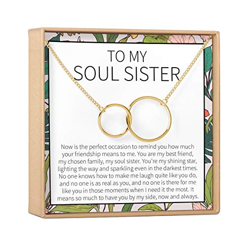 Dear Ava Necklace: BFF, Long Distance, Friends Forever, Friends, 2 Interlocking Circles (Gold-Plated-Brass, NA)