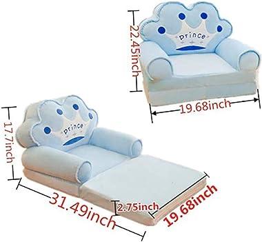 Plush Foldable Children's Sofa Backrest Chair Cute Cartoon Animal Seats Armchair Bedroom Use as Nap Mat Seats Bean Bag (Black)