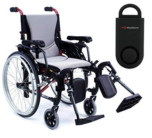 Karman S-Ergo 305 Ultra Lightweight Ergonomic Wheelchair | Upgraded to Elevating Legrests | Seat Size 18' X 17' | Frame Color Pearl Silver & Free 130 dB Black Safety Alarm!