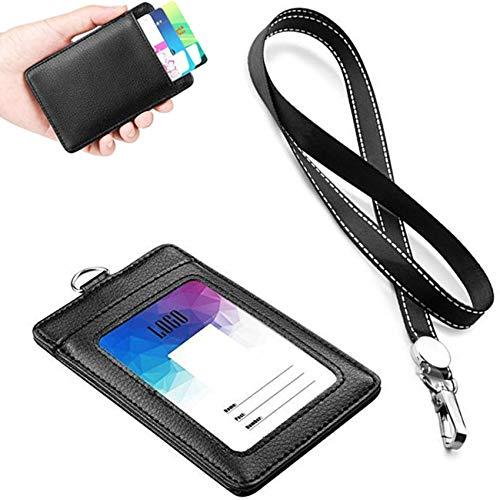 Tarjetero de cuero para tarjetas de identificación, 11,6 x 7,3 x 2,1 cm, soporte para tarjeta de control de acceso para autobús de estudiante (negro)