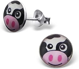 PTN Cow Earrings Studs Small Round Shape 925 Sterling Silver (E19713)