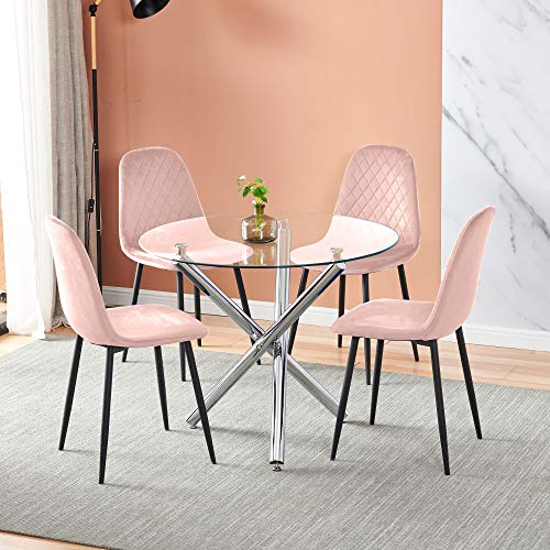 5 Pieces Round Clear Glass Dining Table and Chairs Set 4 Pink Velvet Chairs for 4 People Small Space, Modern Kitchen Dinette Table with Chairs Set of 4 for Restaurant Party Office Conversational