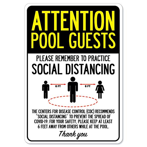 COVID-19 Notice Sign - Attention Pool Guests Practice Social Distancing   Peel and Stick Wall Graphic   Protect Your Business, Class Room, Office & Interior Surroundings   Made in The USA