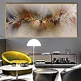Arte de pared grande Impresión de arte moderno Gris amarillo Nube Cartel abstracto Lienzo irreal Pintura de pared para la decoración del arte de la sala de estar 35x70cm (14x28in) Con marco