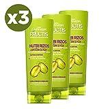 Garnier Fructis Nutri Rizos Contouring Acondicionador Fortificante que Nutre y Define, con Pectina de Fruta y Aceite de Pistacho - Pack de 3 x 300 ml