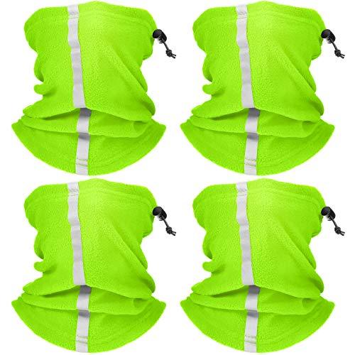 4 Pieces Neck Gaiter Visibility Reflective Safety Fleece Face Covering Balaclava Fluorescence Green