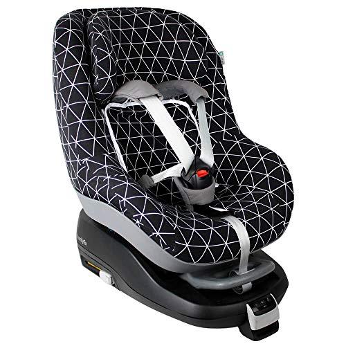 Maxi-Cosi Pearl Bezug Kindersitz von UKJE Auch für 2Way Pearl und Pearl Pro Schwarz Geometrisch Schweißabsorbierend und weich für Ihr Kind Öko-Tex 100 Baumwolle Recycelbar