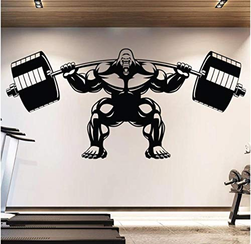 Adesivo Da Parete Adesivi Pvc Gorilla Gym Decalcomania Da Muro Sollevamento Fitness Motivation Muscle Brawn Barbell Sport Poster 124X53cm