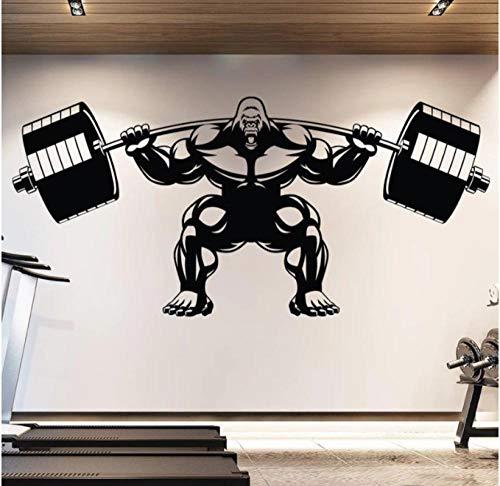 Adesivo Da Parete Adesivi Pvc Gorilla Gym Decalcomania Da Muro Sollevamento Fitness Motivation Muscle Brawn Barbell Sport Poster 124X53cm