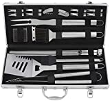 grilljoy 20pcs Set di Utensili da Barbecue, Accessori BBQ in Acciaio...
