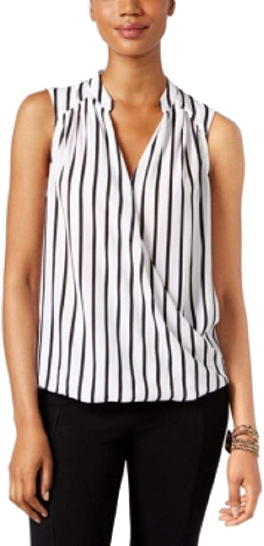 INC International Concepts Petite Sleeveless Striped Surplice Blouse