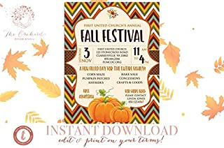 Rainbow Store Fall Festival Instant Download Invitation/Pumpkin Patch Farm Template Church School Community Hayride Flyer/Fundraiser Autumn Craft