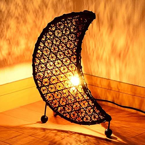 MANJA LAM-0348 E12/20W アジアン照明バンブーテーブルランプ< ムーン>LED対応 【 間接照明 テーブル照明 フロア ライト アジアンテイスト アジアン雑貨 】