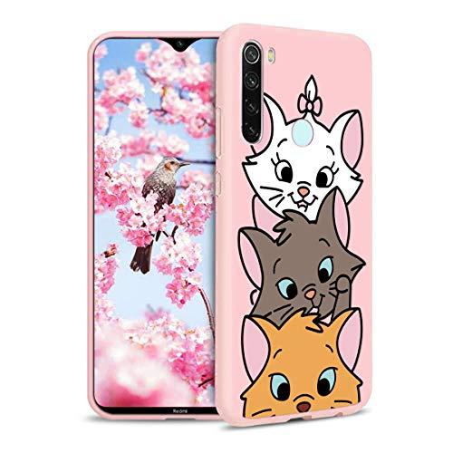 Pnakqil Funda Xiaomi Redmi Note 8T Rosa Silicona con Dibujos Ultra Slim Suave Carcasa Gel TPU Soft Piel Case Antigolpes...