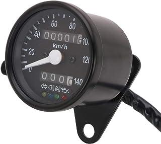 Velocímetro de Motocicleta con 4 Funciones de indicador para Honda Kawasaki Yamaha Suzuki Cafe Racer Old School Bobber (Negro)
