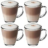 Get Goods 350ml Latte Glasses - Thick Toughened Glass Mugs - Coffee/Tea/Espresso/Cappuccino - Dishwasher Safe (4 glasses)