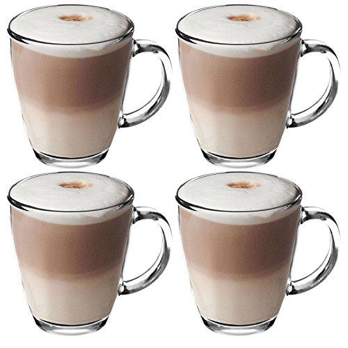 Get Goods Café Latte-Tassen aus gehärtetem Glas, 4-Set für Kaffee/Tee/Espresso/Cappuccino, 350 ml – spülmaschinenfest