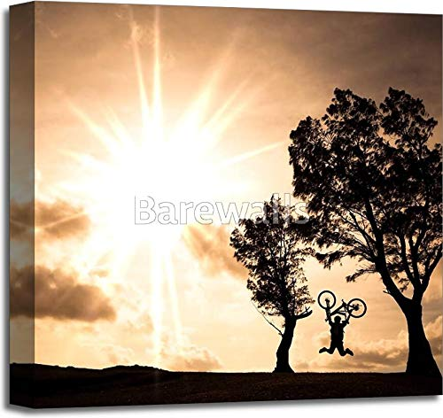 Barewalls Happy Rider Holding Bicycle and Jumping On The Hill Gallery Wrapped Canvas Art (20in. x 20in.)