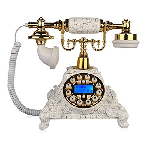 TRTT Teléfono Antiguo con Cable, diseño Retro clásico, Madera Maciza de Estilo Europeo y Resina Versus (Blanco Dorado), Manos Libres