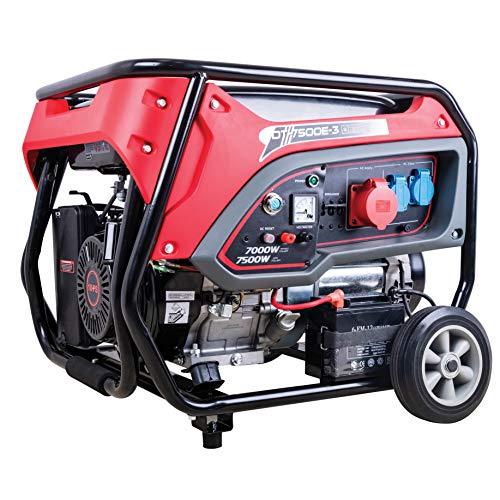 DeTec. DT-7500E-3 Benzin-Generator (7kW Dauerleistung, 7500 Watt max. Leistung, 3X 230V Schukoanschlüsse, 1x 400V CEE, 4-Takt Motor, Ölmangelsicherung)