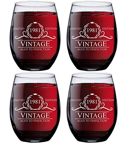 40th Birthday Gift Ideas for Women Men - 1981 Vintage 15 oz Stemless Wine Glasses (SET OF 4) - 1981 Birthday Gifts for Women Men - Gifts for 40 Year Old Woman Man - 40th Class Reunion Party Favors Cup