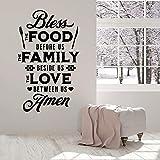 Pegatinas de pared oración cocina bendición comida arte restaurante comedor decoración de interiores vinilo adhesivo vajilla mural