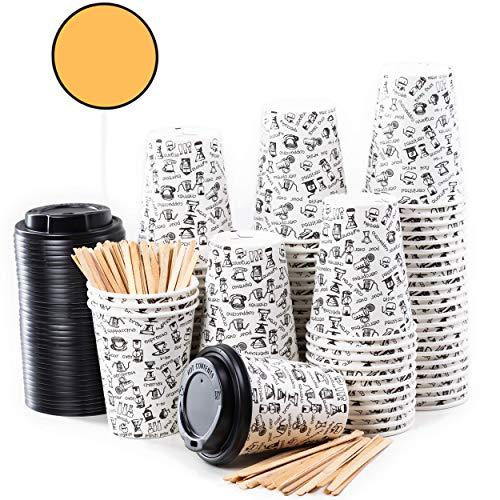 CupCup 80 Pappbecher 360ml 12 Oz mit Deckel und Holz Rührstäbchen - Kaffeebecher to Go Zum Servieren von Kaffee, Tee, heißen und kalten Getränken