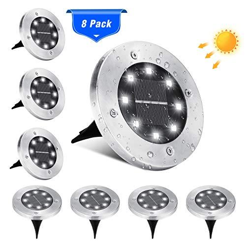 BrizLabs Solar Bodenleuchten Aussen, 8 LEDs Solarleuchten Kaltweiss Solarlampen Gartenleuchten für Außen Solarlicht Garten Licht IP65 Wasserdicht für Rasen, Patio, Hof, Auffahrt, Gehweg, 8 Stück