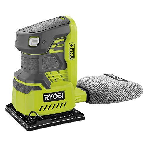 Ryobi 5133002918 Schwingschleifer 18 V, mit Schleifpapier P60, P100, 1x P120 und Staubfangsack, ohne Akku – RAKRBS5