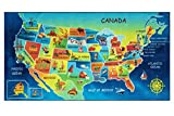 Furnish My Place 762 USA Map HD USA Map Area Rug for Childrens, Skid Resistant Rubber Backing Floor Mat, Multicolor (3'3'x6'6')