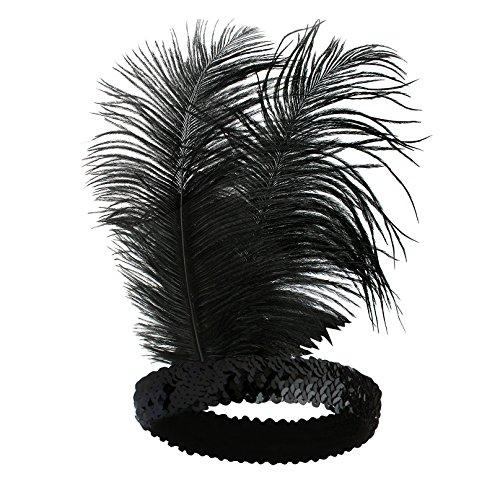 Babeyond® 1920s Stil Stirnband mit schwarzer und weißer Feder Inspiriert von Der Große Gatsby Accessoires für Damen Freie Größe (enthält zwei Stirnbänder) - 2