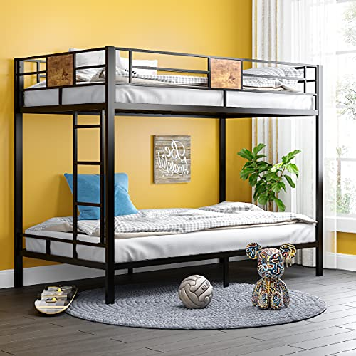 SHA CERLIN Metal Twin Size Bunk Beds Frame with Stairs & Full-Length Guardrail,Space-Saving,No Box...