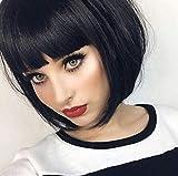 Queentas Natural Black Perruque Remy Vierge Droite Perruques de cheveux humains avec Air Bang pour femmes noires