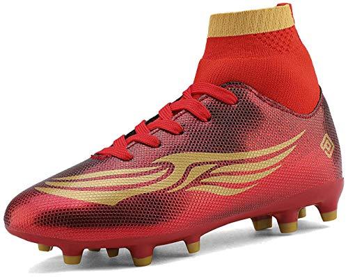 Dream Peers Garçons Filles Or Rouge HZ19009K Crampons de Football Chaussures de Sport Taille 11 US Petit Enfant/28 EU