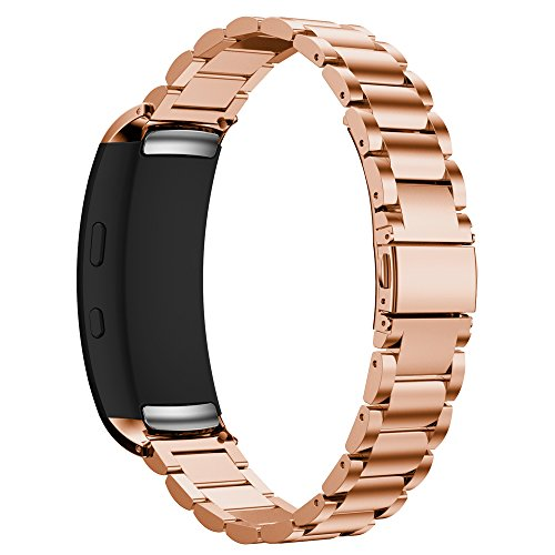 Maxjoy Compatible with Samsung Gear Fit 2 Band,Watch Bands Premium Stainless Steel Bracelet Metal Watch Strap with Magnet Clasp Replacement for Samsung Gear Fit2 SM-R360 Smart Watch,Rose Gold