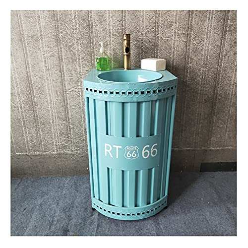 YLR Schmiedeeisen Retro Sockel Waschbecken, Industriellen Stil Standwaschbecken Mit Wasserhahn Und Abfluss Kombiniert Waschtischunterschrank Haus Dekoration 48x48x85cm(Color:Blaue Säule Waschbecken)